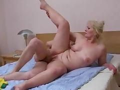 Blonde mature woman gets fucked in many positions