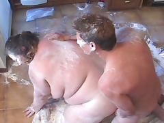 Fatty fucked while covered in flour