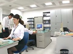 Two horny Japanese couples have sex right in the office