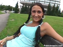 Brunette with Big Tits and Big Nipples Giving a Perfect Blowjob in POV