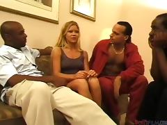 Slutty Julie Meadows gets gangbanged by three Black guys