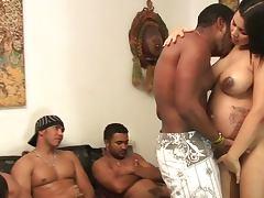 Big black cocks screwing holes of pregnant slut