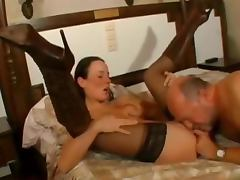 Lucky Old Man Fucks A Hot Brunette's Tight Pussy