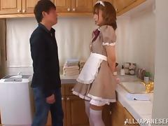 Stunning Japanese housemaid gets pounded in a kitchen