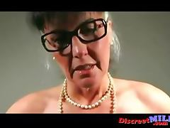 Mature manager woman gives jerkoff instructions