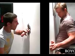 Gloryhole blowjob with blonde guy
