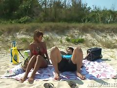 Beautiful Busty MILF Nao Gets Creampied On The Beach