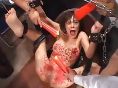 Japanese bitch gets fucked hard and burned candle on her skin