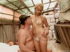 Nasty blonde Chary Kiss gets her pussy ripped apart in a barn