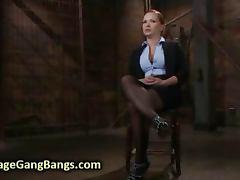 Busty babe interracial gangbang fucked