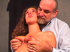 Sweet naked babe being humiliated by an old fart porn video