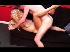 British slut gets fucked on the sofa