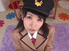 Precious Asian Chick in Uniform Gets Facial After Blowjob