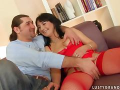 mature woman in red lingerie gets fucked porn video