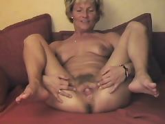 Mature Displays Her Lovely Hairy Pussy