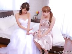 Sexy Japanese Bride Gets Her Pussy Licked by Her Maid of Honor