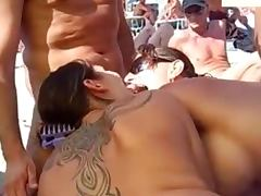 Beach Sex, Amateur, Blowjob, Boobs, Cum, Ffm