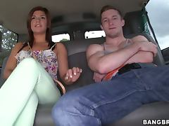 Kinky Rissa Maxxx gets fucked in mouth and pussy in a bangbus
