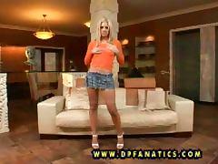 Cute blonde Trinity enjoys threesome MMF interracial banging