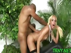 Posh tranny uses male cock