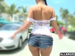 Big tit girl walks around showing her boobs