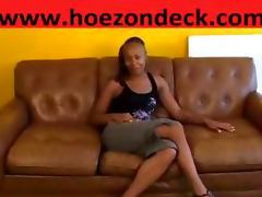 Black Cutie Fingers Herself Hardcore On Sofa