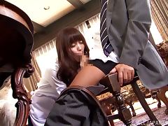 Hot Sarina Takeuchi gets threesomed on a sofa