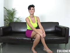 Stunning babe with short hair banged by a beaver basher porn video