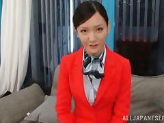 Japanese stewardess get fucked hard on a sofa