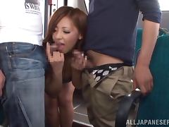 Kaede Fuyutsuki gets fucked by two men in a minivan