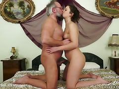 Hadjara gets her hairy pussy fucked by some lewd old guy