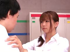 Yui Hatano takes a ride on a cock in the locker room