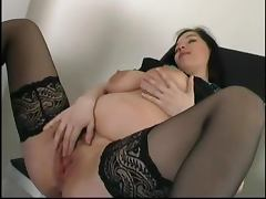 Admirable pregnant brunette gets fucked by an elderly dude