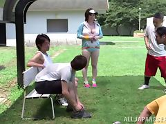 Chubby Japanese girl with big boobs gets fucked outdoors