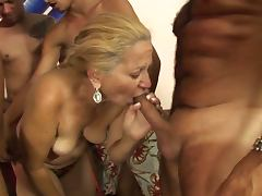 Nasty blonde granny lara saint