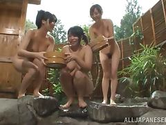 Two Japanese girls with pretty faces give a blowjob