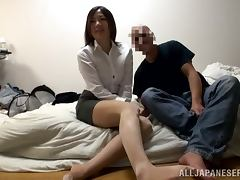 POV video with cute Asian girl getting facialed after sucking a cock
