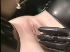 Latex vintage lesbians toying and licking each other