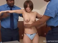 Yuu Shinoda get naughty with two black police officers and enjoys it porn video