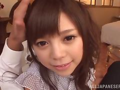 Rina Itou gets her shaved Japanese snatch fucked doggy style