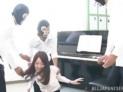 Moe Mitsui was practicing piano when they broke in and fucked her