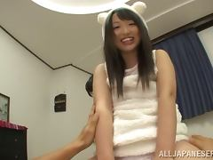 Two curious Japanese girls taste a cock for the first time