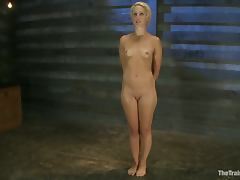 Tied up to the chair blonde girl gets face fucked
