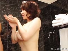 Busty Japanese sweetheart gets her bushy beaver fucked hard