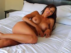 Tanned Ana Cheri takes off her nice panties