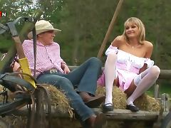 Blonde Country MILF Gets Fucked in the Ass in a Farm