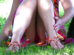 Cure outdoor upskirt with sexy brunette