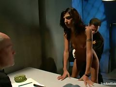 John Strong and Mark Davis teach hot brunette a lesson in jail porn video