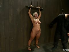 Nipple Torture for Big Breasted Blonde Kait Snow in BDSM Vid
