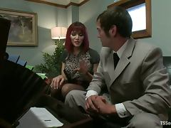 Sexy redhead tranny Eva Lin fucks Mike J's mouth and ass